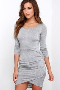 LULUS Exclusive Stay With Me Grey Long Sleeve Dress at Lulus.com!