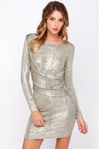 Olive & Oak Young Money Gold Dress at Lulus.com!