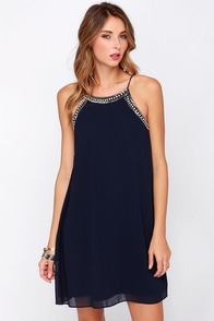 LULUS Exclusive Subzero Navy Blue Beaded Dress at Lulus.com!
