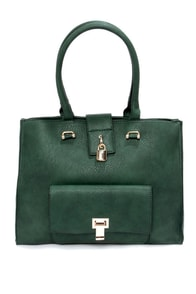 Come Out on Top Dark Green Handbag at Lulus.com!