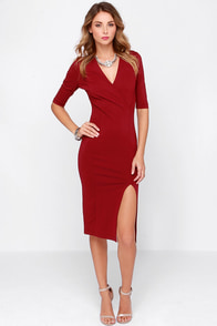 Making Me Lush Wine Red Midi Dress at Lulus.com!