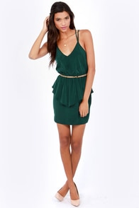 Dance Till Dawn Hunter Green Peplum Dress at Lulus.com!