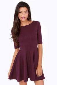 Just a Twirl Burgundy Dress