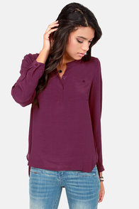 In It to Win It Long Sleeve Burgundy Top