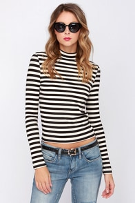 High and Tight Black and Cream Striped Top at Lulus.com!
