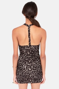 Coup de Lace Beige and Black Halter Dress at Lulus.com!