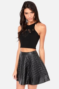 Out of Bounds Embroidered Black Crop Top at Lulus.com!