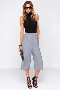 Short Wave Signals Heather Grey Culottes at Lulus.com!
