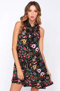 Glamorous Folk Artist Black Floral Print Shirt Dress at Lulus.com!