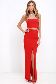 Better than a Sequel Red Two-Piece Dress at Lulus.com!