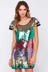 Sequin of Events Green and Pink Sequin Dress at Lulus.com!