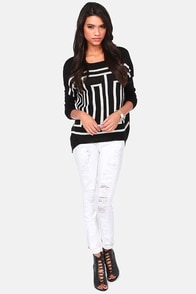 Maze of Glory Ivory and Black Print Sweater at Lulus.com!