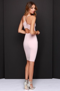 LULUS Exclusive Dream in Lace Blush Pink Midi Dress at Lulus.com!
