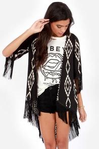 Somewhere My Love Black Southwest Print Kimono Top at Lulus.com!