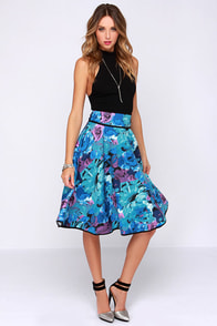 Abstract Mind Blue Print Midi Skirt at Lulus.com!