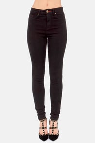 Flying High High-Waisted Black Skinny Jeans at Lulus.com!