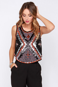Follow the Leader Beaded Black Top at Lulus.com!