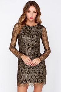 Dress the Population Victoria Black and Gold Dress at Lulus.com!