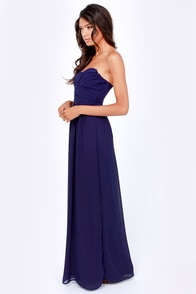 LULUS Exclusive Slow Dance Strapless Navy Blue Maxi Dress at Lulus.com!