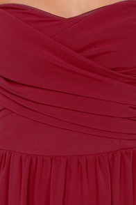 LULUS Exclusive Slow Dance Strapless Burgundy Maxi Dress at Lulus.com!