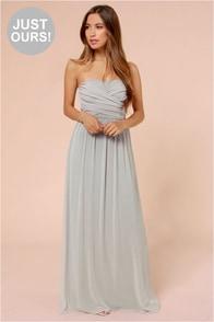 LULUS Exclusive Slow Dance Strapless Light Grey Maxi Dress
