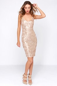 Opera House Gold Midi Sequin Dress at Lulus.com!