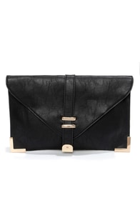 Mystery Solved Black Clutch at Lulus.com!