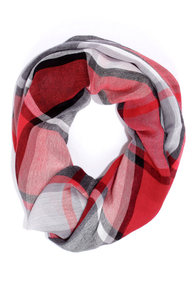 Plaid About You Red Plaid Infinity Scarf