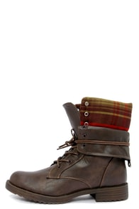 Dollhouse Strength Brown Convertible Combat Boots