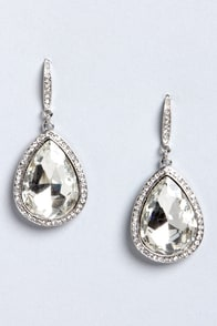 Teardrop Everything Silver Rhinestone Teardrop Earrings at Lulus.com!