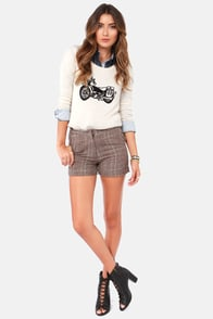 Tweed-ing Frenzy Brown Tweed Shorts at Lulus.com!