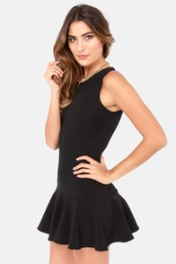 Flare-y Stories Sleeveless Black Mini Dress at Lulus.com!