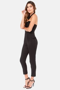 Come On Overlay Strapless Black Jumpsuit at Lulus.com!