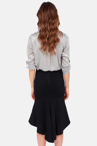 Mermaid in the Shade Black Midi Skirt at Lulus.com!