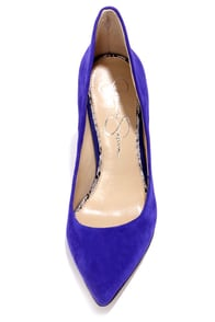 Jessica Simpson Cambredge Blue Kid Suede High Back Heels at Lulus.com!
