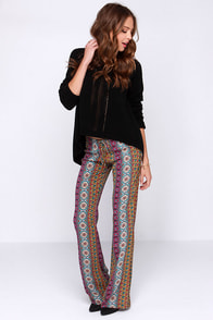 Lucy Love Taj Mahal Multi Print Pants at Lulus.com!