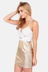 Gild to Go Ivory and Gold Dress at Lulus.com!