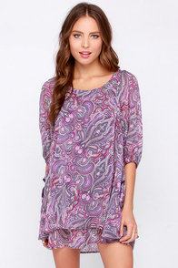 Lucy Love Gabriella Purple Print Dress at Lulus.com!
