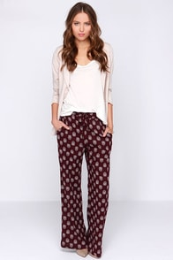 Lucy Love Chakra Burgundy Print Pants at Lulus.com!