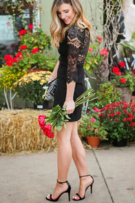 BB Dakota Princeton Black Lace Dress at Lulus.com!