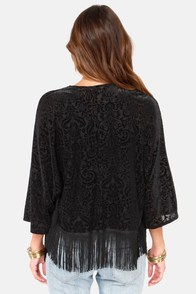 No Place Like Bohome Black Kimono Top at Lulus.com!