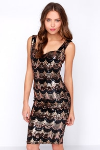 Opera House Black and Gold Midi Sequin Dress at Lulus.com!