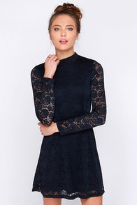 Give It a Glance Navy Blue Lace Dress at Lulus.com!