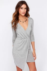 LULUS Exclusive Wrap Party Heather Grey Long Sleeve Dress at Lulus.com!