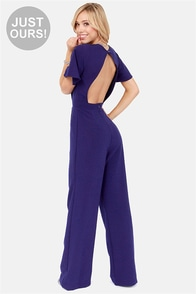 LULUS Exclusive Between View and Me Backless Blue Jumpsuit