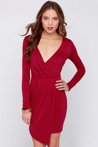 LULUS Exclusive Wrap Party Wine Red Long Sleeve Dress at Lulus.com!