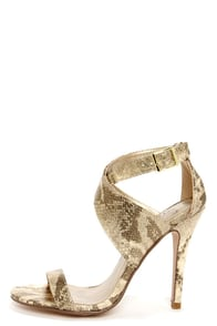 My Delicious Shadi Gold Snake Print Ankle Strap Heels at Lulus.com!