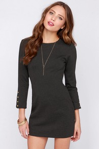 Chic it Up Grey Long Sleeve Dress at Lulus.com!