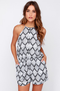The Fifth Label Behind the Sun Grey Print Romper at Lulus.com!