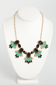 Mates of Statement Green and Black Rhinestone Necklace at Lulus.com!